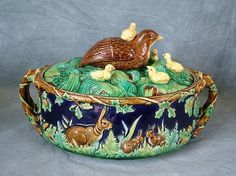 George Jones Majolica with rabbits and chicks