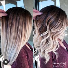 Amy McManus Massachusetts (camouflageandbalayage) photos and videos Hair Color And Cut, Ombre Hair Color, Hair Color Balayage, Cool Hair Color, Hair Highlights, Dark Roots Blonde Hair Balayage, Balyage Short Hair, Hair Color Ideas, Brown To Blonde Ombre Hair