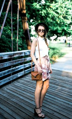 A summer outfit lookbook on how to wear an affordable fashion  top two ways, a skirt by For Love and Lemons, Senso Robbie heels, details by Free People.