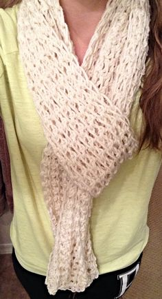Cream. Single crochet scarf.  no pattern just pictures looks like it's a big hook and the rows go length wise