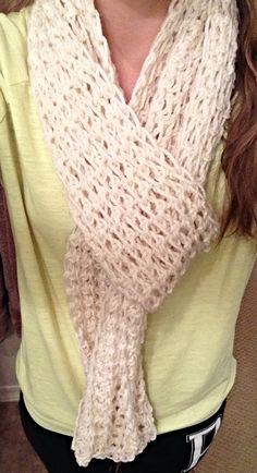 Cream. Single crochet scarf.