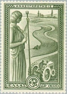 Greece Marshall Plan - Reconstruction May 1951 One of the six stamps portrays agricultural reconstruction. The designs shows two tractors working in the field under the watch of Goddess Demeter. Postage Stamp Design, Postage Stamps, Vintage Labels, Vintage Posters, Art Posters, Egypt Flag, Principles Of Design, Greek Art, Mail Art