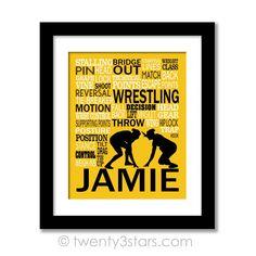 Girl's Wrestling Typography Wall Art - Choose Any Colors - twenty3stars