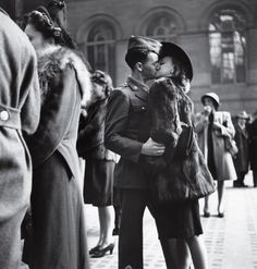 American soldier kisses his girlfriend good bye at Penn Station, New York 1944