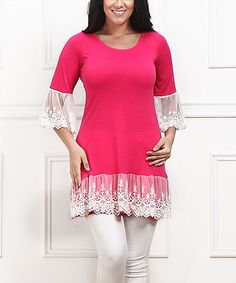 Another great find on #zulily! Fuchsia & White Lace Scoop Neck Tunic - Plus #zulilyfinds