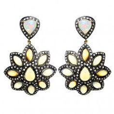 Opal 14k Gold Pave Diamond 925 Sterling Silver Vintage Dangle Earrings Jewelry