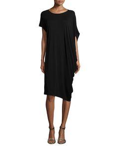 TA6XB Eileen Fisher Silk Jersey Asymmetric Dress, Petite