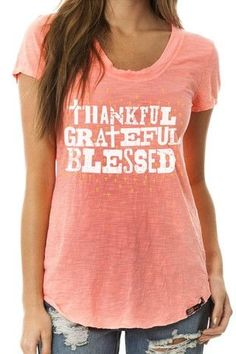 Thankful, Grateful, Blessed Cross Tee by ATX Mafia ~