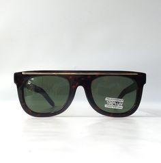 vintage 1990's NOS tortoise shell wayfarer sunglasses womens men fashion accessories accessory sun glasses retro modern gold green lens by RecycleBuyVintage on Etsy