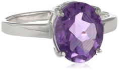 Sterling Silver Oval Amethyst Ring Size 7 -- Find out more at the image link.