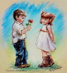 """""""LOVE YOU! by Laurie Shanholtzer  Shy little guy is presenting his 'not so fresh"""" rose to his sweetheart with her coy little smile."""