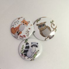 Excited to share the latest addition to my #etsy shop: Pin back Buttons, pin back, owl pin, pin Buttons, Owl buttons, button badge, pin badge, animal badge, animal pins, pin set, button pins