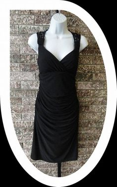Black Ruched Dress with Lace Back