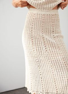 Check out the latest skirts from Aritzia and its exclusive brands. Shop mini, maxi, knee-length, flared, pleated and pencil skirts. Crochet Skirts, Knit Skirt, Crochet Clothes, Knit Dress, Modern Crochet, Dress Picture, Skirt Fashion, Knitwear, Clothes For Women