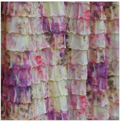 Ruffle Half Curtain Panel, Floral Purple, Cream and Pink Floral, Many Sizes Available