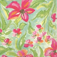 IHR Rosanne Beck Spring Clematis Floral Printed 3-Ply Paper Luncheon Napkins Wholesale L708000
