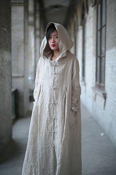 MMD HOODIE LAGENLOOK BAGGY LEINEN MANTEL KLEID mit Kapuze Long Tunika Trenchcoat in Kleidung & Accessoires, Damenmode, Kleider | eBay