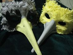Masquerade masks... DIY with paper mache and crepe paper.