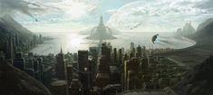 Teknoloji Şehirleri Space Fantasy, Fantasy World, Fantasy Art, City Landscape, Fantasy Landscape, Future Earth, Sci Fi City, Space City, Futuristic City