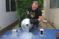 iPhone 6 Plus beaten with a hammer immersed in liquid nitrogen