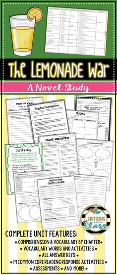 This 139 page literature unit for The Lemonade War, by Jacqueline Davies, contains comprehension by chapter, vocabulary challenges, creative Common Core-aligned reading response activities, comprehension assessments, and much more!  You will find this guide teacher and student friendly. It contains a wide variety of question types, along with open-ended graphic organizers and unique activities, all carefully crafted for this particular story.   Focus standards include figurative language…