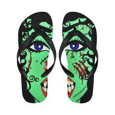 ZinZi the Zombie Flip Flops for Men/Women.ZinZi the Zombie