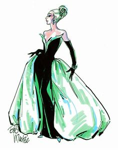 Bob Mackie Emerald and black gown sketch