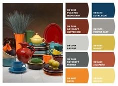 GREAT COLORS - I really love the Fiestaware. (Paint colors from Chip It! by Sherwin-Williams)