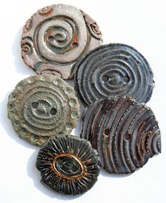 Handmade Ceramic Buttons by Lisa Peters Art . Set of 5 . etsy.com