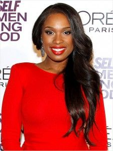 African American Hairstyles, one-shoulder hairstyle, curly hair, wavy hair, Jennifer Hudson