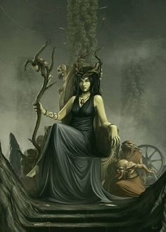 Witch of the night : bone mother Nicnevin .   Flocks of geese at night  herald her presence