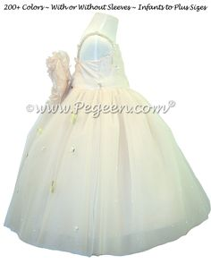eb7a4de6a3 Champagne (nude) Silk and Tulle Silk Style 904 Flower Girl Dresses Ivory Flower  Girl