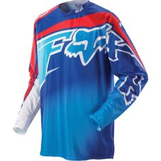 FOX 360 FLIGHT JERSEY - BLUE/RED Dirt Bike Gear, Motocross Gear, Fox Racing, Mtb Clothing, Valentino, Motorcycle Jacket, Cute Outfits, Suits, Toys