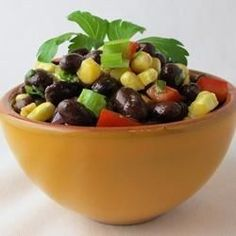 "Spicy Black Bean Salad | ""Awesome recipe. Very pretty and tastes even better the next day."""