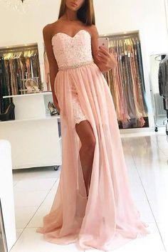 Long Prom Dresses, Pink Evening Dresses, Prom Dresses 2019, Lace Prom Dresses #PinkEveningDresses #PromDresses2019 #LacePromDresses #LongPromDresses