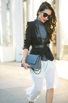 Sheer Layers :: Asymmetrical hem & Structured blazer - Rebel Without Applause Nyc Fashion, Love Fashion, Fashion Outfits, Runway Fashion, Pretty Outfits, Cool Outfits, Wendy's Lookbook, Asos Dress, Look Chic