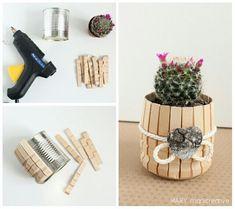 DIY Blumentopf aus Wäscheklammern.