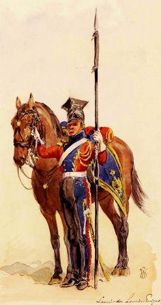 Lancier rouge en tenue de route, 1811 - 2e régiment de chevau-légers lanciers de la Garde Impériale. Military Life, Military Art, Military History, Delft, French Pictures, Art Of Fighting, Army Uniform, Military Uniforms, Battle Of Waterloo