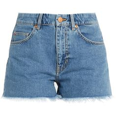 M.i.h Jeans Halsy raw-hem mid-rise denim shorts ($130) ❤ liked on Polyvore featuring shorts, bottoms, denim, mid rise denim shorts, vintage shorts, denim jean shorts, vintage denim shorts and cutoff shorts