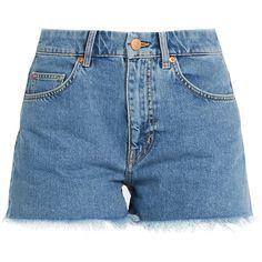 M.i.h Jeans Halsy raw-hem mid-rise denim shorts ($105) ❤ liked on Polyvore featuring shorts, denim, blue jean shorts, denim short shorts, denim cut-off shorts, jean shorts and denim cut offs