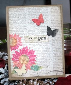 MIM challenge. Two toned flowers. Stamps by Papertrey Ink.