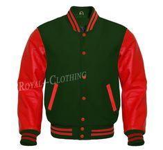 Letterman Baseball Varsity Jacket in F. Royal Shop, Letterman Jackets, Leather Sleeves, Royal Clothing, Royals, Red Leather, Quilt, Pocket, Wool
