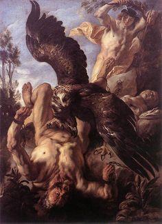 Jacob JORDAENS   [Flemish Baroque Era Painter, 1593-1678]  Prometheus Boundc. 1640
