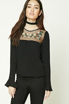 Boxy Embroidered Mesh Top