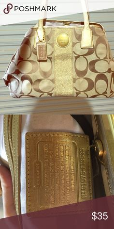 Coach monologue handbag Authentic gold monologue coach handbag. Lilac interior...used but still clean and no rips, tears, snags, etc Coach Bags Shoulder Bags