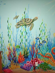 Kids Room Murals, Murals For Kids, Ocean Mural, Beach Mural, Sea Creatures Drawing, Underwater Painting, Sea Life Art, Coral Art, Fish Art