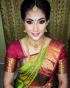 Image may contain: 1 person Bridal Silk Saree, Saree Wedding, Wedding Saree Collection, Bridal Collection, South Indian Bride Saree, Kerala Bride, Pattu Saree Blouse Designs, Hindu Bride, Indian Bridal Makeup