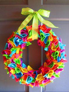Colorful Felt Wreath  Vibrant Colors  Party by JameandJacqsCrafts, $35.00