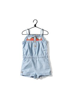 denim jumpsuit with embroidered straps - Skirts and shorts - Baby girl (3-36 months) - Kids - ZARA United States