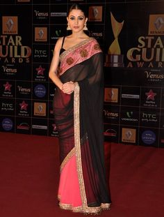 Anushka Sharma in Manish Malhotra - gorgeous saree and features my favourite colour - neon pink!